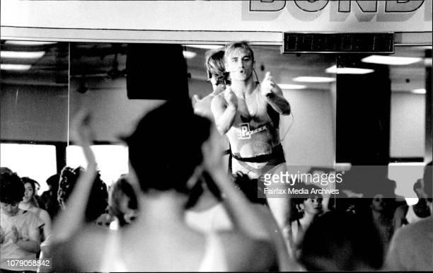 World Aerobics Champion Marcus Irwin takes an aerobics class at Bondi Junctions Plazas Health Gym May 20 1992