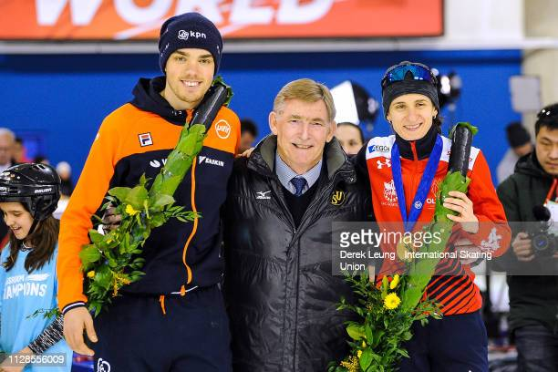 World Allround Speed Skating Champions Patrick Roest and Martina Sáblíková pose for a photo with ISU president Jan Dijkema at the conclusion of...