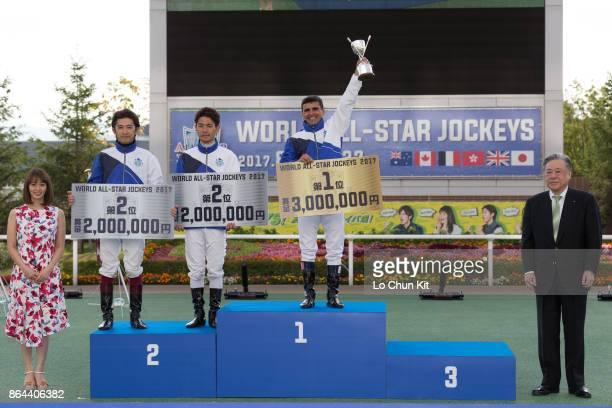 World AllStar Jockeys winner Eurico Da Silva runnerup Keita Tosaki and Yuichi Fukunaga pose for photo at the 2017 World AllStar Jockeys presentation...