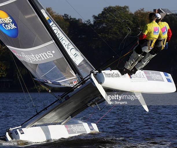 World and European sailing champion Roland Gaebler of Germany competes with a catamaran in the tornado class in a speed race on lake Alster on...