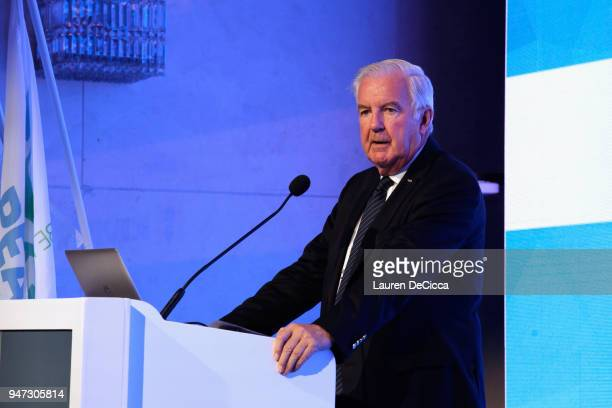 World Anti Doping Agency President Craig Reedie addresses during the United Through Sport Sports Festival on day three of the SportAccord at Centara...