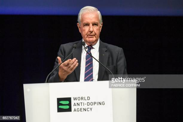 World AntiDoping Agency President Craig Reedie addresses the assembly at the opening of the 2017 edition of its WADA Annual Symposium on March 13...