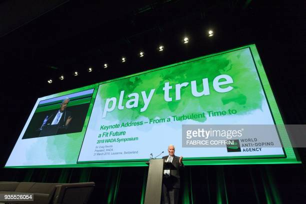 World Anti-Doping Agency President, Craig Reedie, addresses the assembly at the opening of the 2018 edition of the WADA Annual Symposium on March 21,...