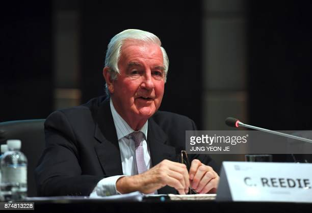World AntiDoping Agency president Craig Reedie speaks during a press conference after the WADA's foundation board meeting in Seoul on November 16...