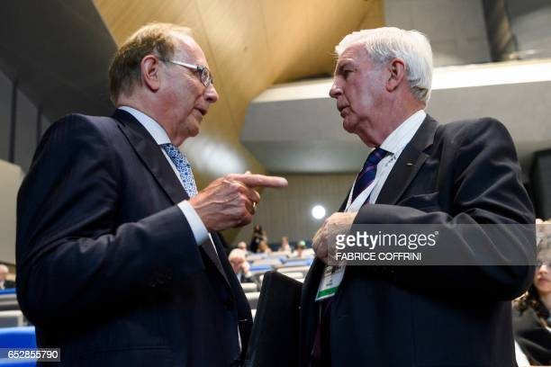 World AntiDoping Agency President Craig Reedie speaks wirth Canadian lawyer Richard McLaren who produced a report for the World AntiDoping Agency...