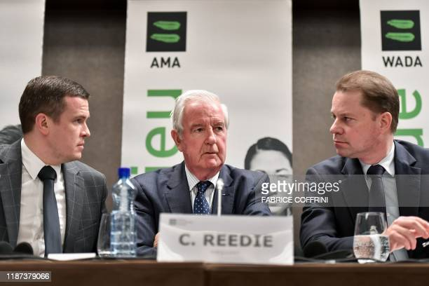 World Anti-Doping Agency President-Elect Witold Banka, WADA President Craig Reedie and WADA Director General Olivier Niggli attend a press conference...