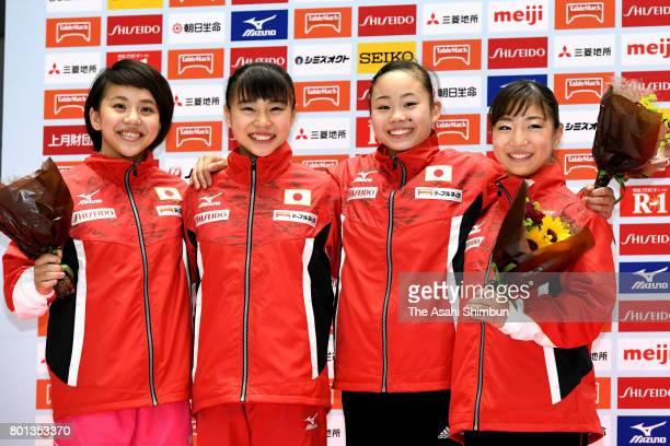 World Artistic Gymnastic Chamionships national team members Mai Murakami Aiko Sugihara Sae Miyazawa and Asuka Teramoto pose for photographs after day...