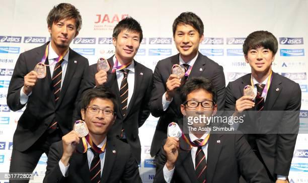 IAAF World Athletics Championships Men's 4x100 metres relay bronze medalists Kenji Fujimitsu Yoshihide Kiryu Shota Iizuka and Shuhei Tada Mne's 50km...