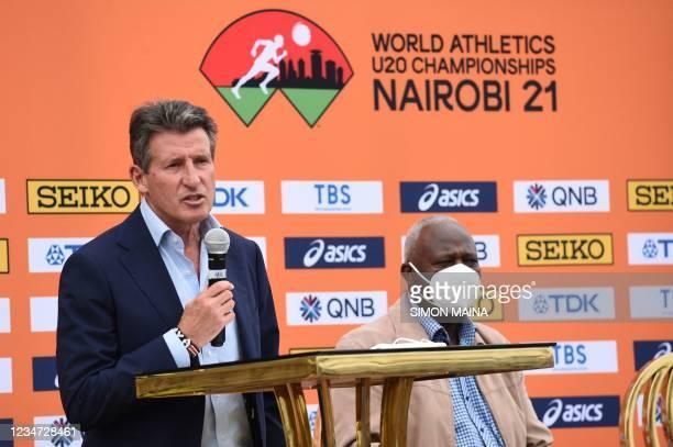 World Athletics President Sebastian Coe , flanked by Athletics Kenya President Jackson Tuwei, speaks to the media ahead of World Under 20...