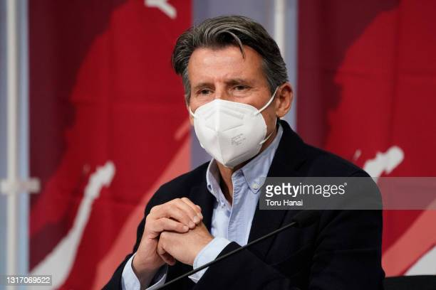 World Athletics President Sebastian Coe speaks at a press conference during the Ready Steady Tokyo - Athletics Olympic test event, part of the World...