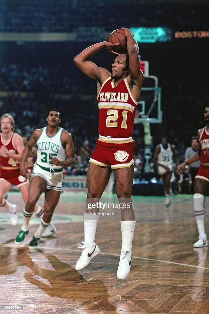 World B. Free #21 of Cleveland Cavaliers shoots a jumper against the Boston Celtics during a game played in 1983 at the Boston Garden in Boston, Massachusetts.