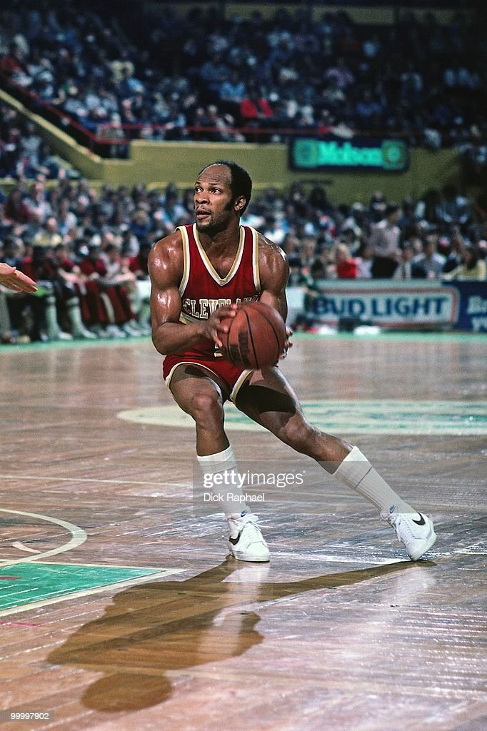 World B. Free #21 of the Cleveland Cavaliers drives to the basket against the Boston Celtics during a game played in 1983 at the Boston Garden in Boston, Massachusetts.