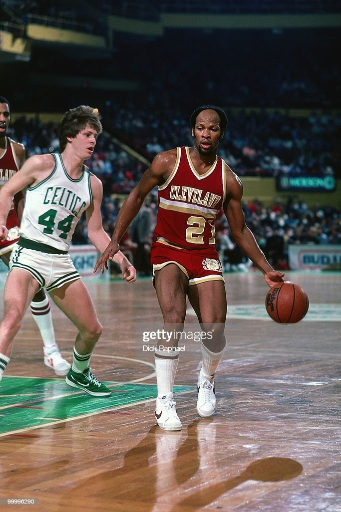 World B. Free #21 of the Cleveland Cavaliers moves the ball up court against Danny Ainge #44 of the Boston Celtics during a game played in 1983 at the Boston Garden in Boston, Massachusetts.
