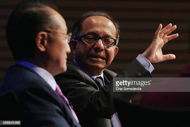 World Bank Group Chief Economist Kaushik Basu and World Bank Group President Jim Yong Kim participate in a discussion about the bank's goal of...