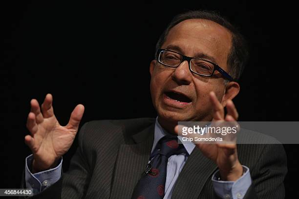 World Bank Group Chief Economist Kaushik Basu participates in a discussion about the bank's goal of reducing poverty in an unequal world economy at...