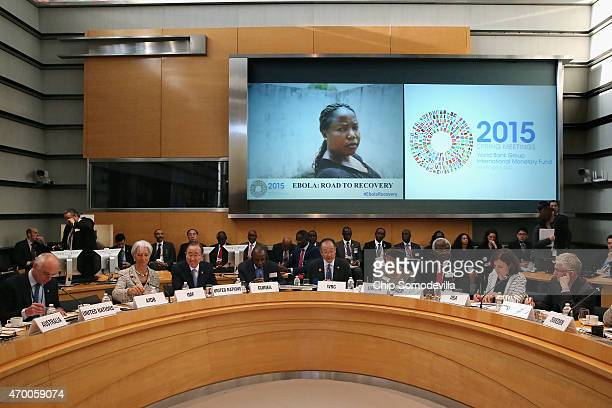 World Bank Group President Jim Kim leads a meeting with finance and development ministers and international partners and Guinea President Alpha Conde...