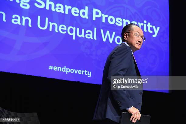 World Bank Group President Jim Yong Kim arrives for a discussion about the bank's goal of reducing poverty in an unequal world economy at the World...