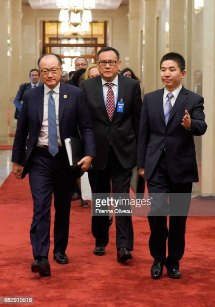 World Bank Group President Jim Yong Kim arrives to attend a meeting with Chinese Premier Li Keqiang at the Great Hall of the People on May 14 2017 in...