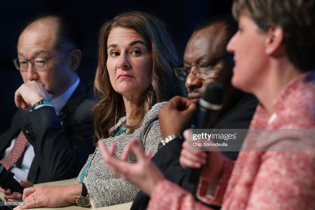 World Bank Group President Jim Yong Kim, Gates Foundation Co-Chair Melinda Gates, Rwandan Minister of Finance and Economic Planning Claver Gatete and Canadian Minister of International Development and La Francophonie Marie Claude Bibeau participate in a panel discussion during the World Bank Group and International Monetary Fund Spring Meetings April 20, 2017 in Washington, DC. The discussion, titled 'How Investing in Adolescents Today Can Change the World of Tomorrow,' focused on the the World Bank Group's Generation Now initiative.