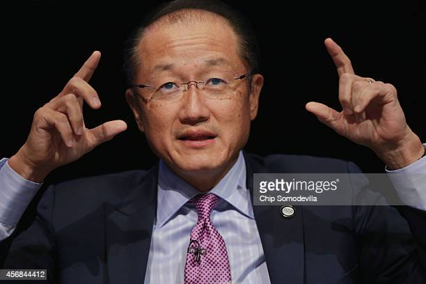World Bank Group President Jim Yong Kim participates in a discussion about the bank's goal of reducing poverty in an unequal world economy at the...