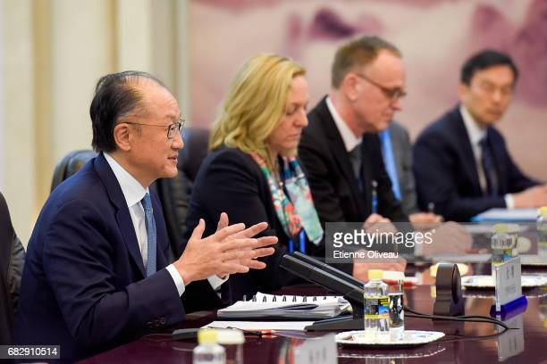 World Bank Group President Jim Yong Kim speaks during a meeeting with Chinese Premier Li Keqiang at the Great Hall of the People on May 14 2017 in...