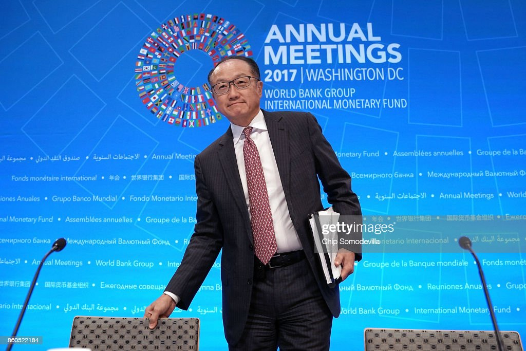 World Bank President Jim Yong Kim arrives for the opening news conference of the World Bank Group and the International Monetary Fund's annual fall meeting at IMF Headquarters October 12, 2017 in Washington, DC. Kim said that global growth is stonger than it has been in years but warns political, protectionist and financial risks could derail this progress.