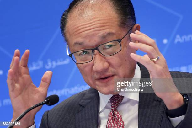 World Bank President Jim Yong Kim delivers remarks at opening news conference of the World Bank Group and the International Monetary Fund's annual...