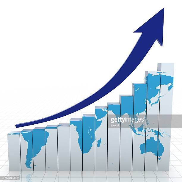 World bar graph and upward arrow