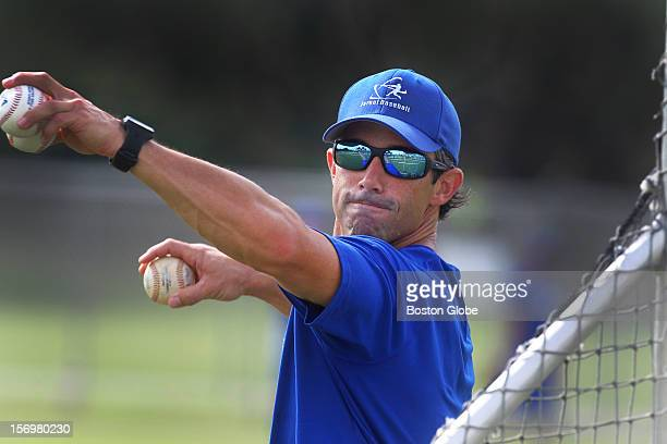 World Baseball Classic Qualifier---Former All Star catcher Brad Ausmus, manager of Team Israel, throws batting practice on the practice field during...