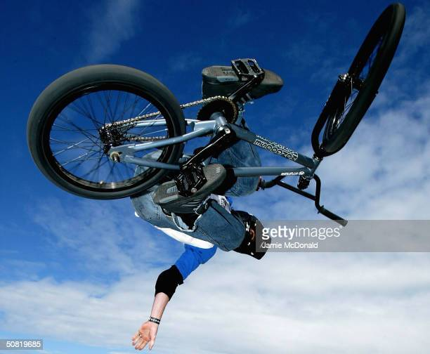 World BMX champion Simon Tabron gets airbourne during the second day of the Laureus Beach Festival May 10, 2004 in Estoril, Portugal.