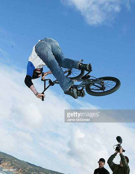 World BMX champion Simon Tabron gets airbourne during the second day of the Laureus Beach Festival, on May 10, 2004 in Estoril, Portugal.