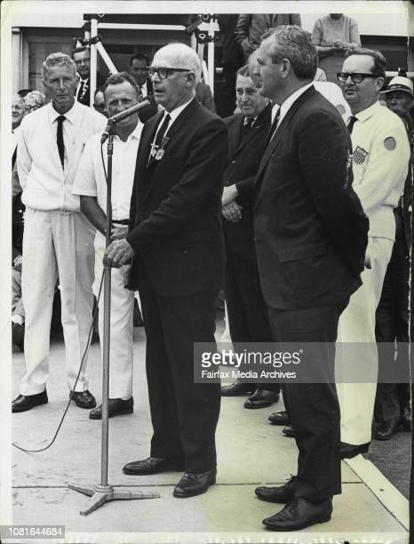 World Bowls at KyeemaghL to R Dr N Benjamin president of the International Bowling Board welcome's Gene Foley personal aid to President Johnson...