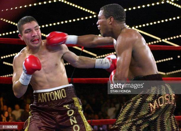 World Boxing Council Welterweight Champion Shane Mosley of the US throws a right at contender Antonio Diaz of Mexico during their match 04 November...
