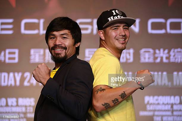 World boxing icon Manny Pacquiao and former world champion Brandon Rios attend the press conference on July 30 2013 in Beijing China Pacquiao will...