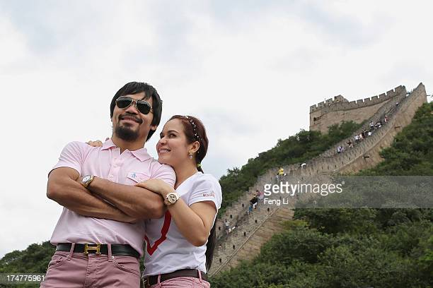 World boxing icon Manny Pacquiao and his wife Jinkee visit to the Great Wall on July 29 2013 in Beijing China Manny Pacquiao and Brandon Rios will...