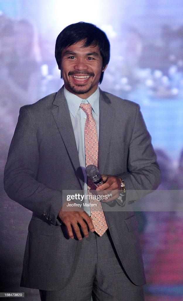 World boxing icon Manny Pacquiao is seen during his 34th birthday party on December 17, 2012 in General Santos, Philippines.