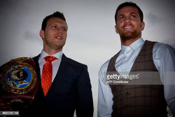 World Boxing Organization title holder Jeff Horn of Australia and Gary Corcoran of Britain attend a press conference at Brisbane Convention Centre on...