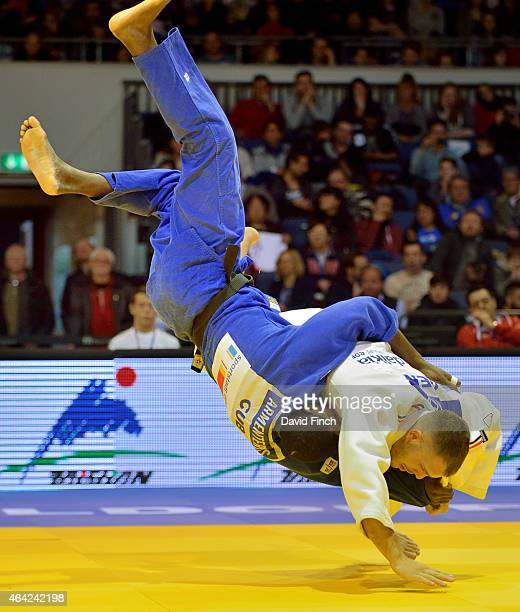 World bronze medallist KarlRichard Frey of Germany throws Jose Armenteros of Cuba for a yuko to win their u100kg contest during the Dusseldorf Grand...