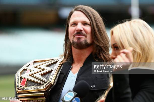 World champion AJ Styles and Smackdown women's champion Carmella speak at the Melbourne Cricket Ground on June 24, 2018 in Melbourne, Australia.