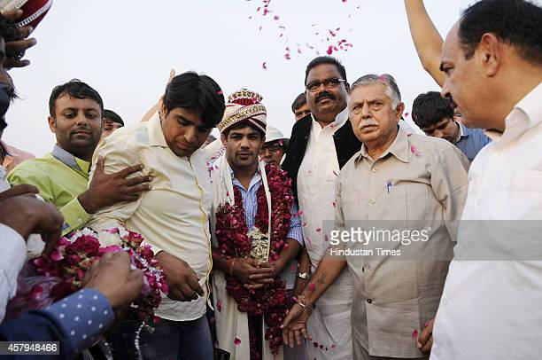 World Champion and Olympic medal winner wrestler Sushil Kumar during Wrestling Title Championship at Gari Chaukhandi village on October 27 2014 in...