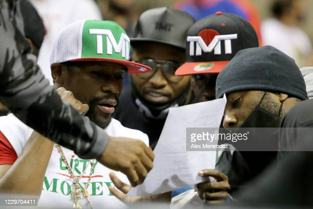 World champion boxer Floyd Mayweather Jr. Sits ringside during the Fight Night in Daytona Beach boxing event at the Ocean Center on November 20, 2020...