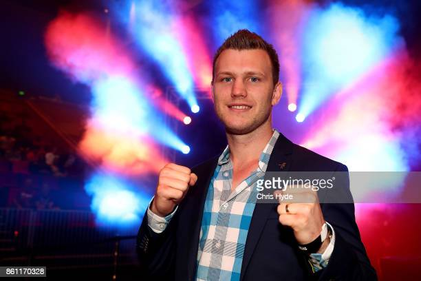 World Champion boxer Jeff Horn poses during the Dennis Hogan v Yuki Nonaka fight at the Brisbane Convention Exhibition Centre on October 14 2017 in...