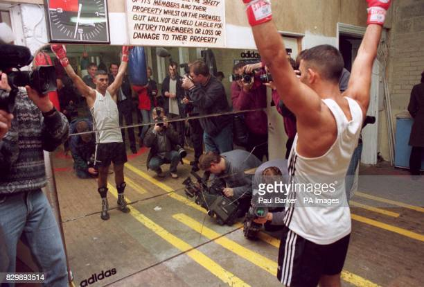 World champion boxer Prince Naseem Hamed practices his victory salute as the eyes of the sporting world focus in on his training session in Sheffield...