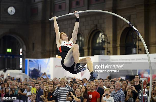 World Champion Canadian Shawn Barber competes during the men's pole vault event at the main station of Zurich on the sideline of the Diamond League...