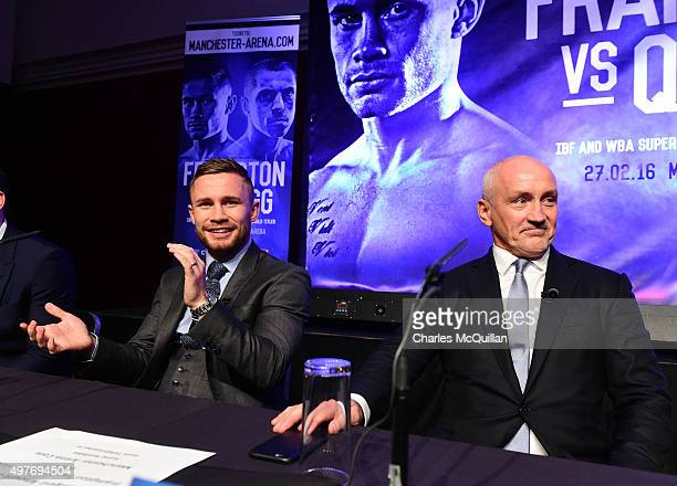 IBF world champion Carl Frampton and manager Barry McGuigan during the WBA and IBF superbantamweight world title unification prefight press...