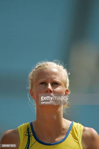 World Champion Carolina Kluft of Sweden during the 11th IAAF World Championships in Athletics at Nagai stadium of Osaka, Japan.
