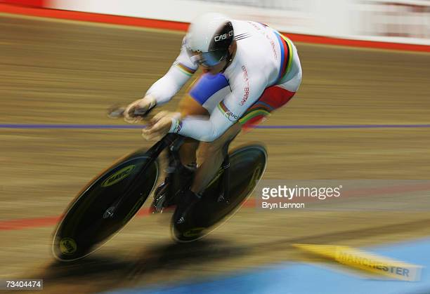 World Champion Chris Hoy of Great Britain in action on his way to winning the 1km Time Trial during the UCI Track Cycling World Cup Classic at the...