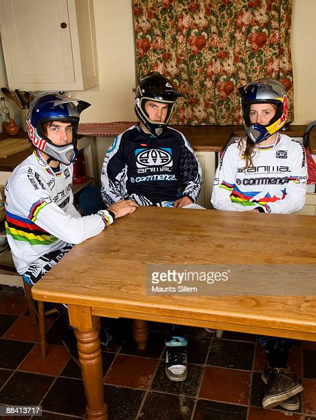 World Champion Extreme mountain bikers Gee Dan and Rachel Atherton pose at the kitchen table for The Red Bulletin at their home in Llangynog Wales UK...