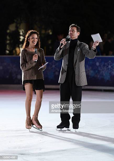 World champion figure skaters Tai Babilonia and Randy Gardner celebrate the grand opening of the Downtown Santa Monica ICE Holiday Skating Rink on...
