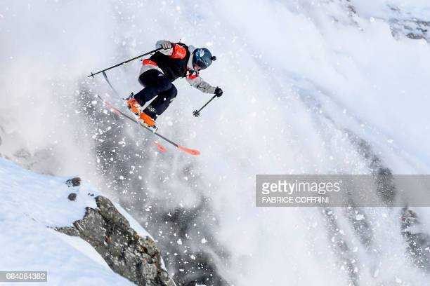 TOPSHOT World Champion France's Leo Slemett competes in the men's ski event during the Verbier Xtreme Freeride World Tour finals at the Bec des...